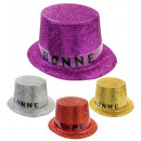 bonne annee glitter top hat - 4 colours, Hat size: