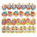 clown papier guirlande  3 m - 4 stijlen assortime