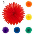 unicolor paper fan ø 75 cm - 6 colors assorted,