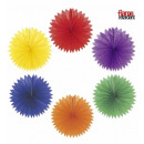 wholesale Gifts & Stationery:  unicolor paper  fan  ø 75 cm - 6 colors assorted