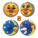 Maan en zon papier bal  ø 30 cm - 4 stijlen Assor