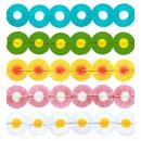 Maxi bloem papier slinger  3 m - 5 kleuren assort
