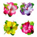 groothandel Feestartikelen: 3 grote hibiscus bloemen haar clip 4 kleuren ass