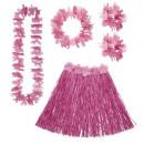 ingrosso Gonne:  Set hawaiano  rosa  (gonna hula con cintura fiori,