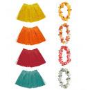 wholesale Toys: flower lei & color raffia hula miniskirt 4 color