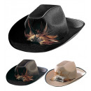 wholesale Toys: cowboy hat with feather felt - 3colors assorted: