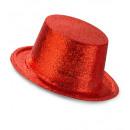 rode glitter top hat  - voor volwassenen / unisex