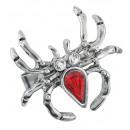 groothandel Accessoires & Onderdelen:  Spider ring met  rode gem & strass  - voor vol