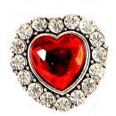 groothandel Accessoires & Onderdelen:  Hart ring met  rode gem & strass '- voor v