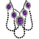 grossiste Jouets: Choker perlé noir avec 5 purplegems - pour wom