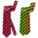 groothandel Accessoires & Onderdelen:  neon gestreepte  stropdas  satijn - 3 kleuren asso