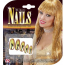 set of 15 gold metallic nails with 30 adhesive t