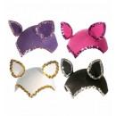 wholesale Working clothes:  cat cap with  sequin trim  felt - 4 colors assorte