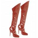 Bota roja tops  de vinilo (con tejido elástico de