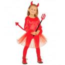 Großhandel Spielwaren: Teufel Mädchen Samt (Leotard, Rock mit Paillette