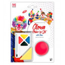 wholesale Make-up Accessoires: clown make-up set with nose (4 colours 4,5 ml &