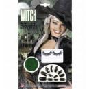 wholesale Ironmongery:  black nails +  black eyelashes + green glitter mak