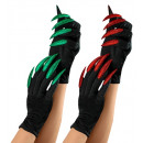 wholesale Costumes: scary gloves with maxi glitter nails 2 colors as