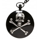 skull & cross  bones pocket watch with chain  -  f