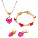 wholesale Costumes: gold pink gem heart necklace, earrings & bracelet