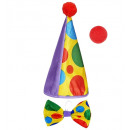 wholesale Toys: clown dress-up set (hat, bowtie, nose) 2 colors