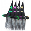 wholesale Toys: decorated witch hat with hair 4 colors assorted