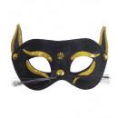 Eyemask gatto nero con accenti d'oro glitter