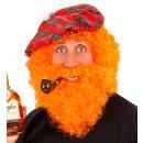 character curly wig & beard orange - in polybag,