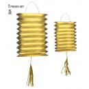 wholesale Toys: set of 2 gold metallic lanterns h 25 cm, Hat siz