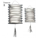 wholesale Toys: set of 2 silver metallic lanterns h 25 cm, Hat s