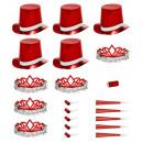 wholesale Toys: holographic red las vegas party kit , Hat size: 0