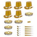 wholesale Toys: holographic gold las vegas party kit , Hat size: