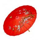 Versierd rode rijstpapier orientalparasol met woo