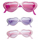 wholesale Toys: glamour glitter heart glasses 3 colors assorted,