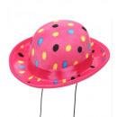 wholesale Toys: velvet pink polka dots mini bowler hat , Hat size