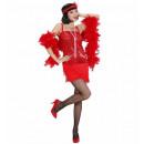 grossiste Jouets: Flapper rouge (robe, bandeau avec plume), Taille