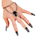grossiste Jouets: Gothic chaîne de poignet avec gemmedallion noir