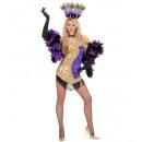 grossiste Vetement et accessoires:  Vegas showgirl   or / violet (robe, casque), S