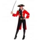 grossiste Jouets: Capitaine pirate femme rouge (frac, chapeau avec
