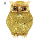 Großhandel Geschenkartikel & Papeterie:  Gold-Glitter owl  10,5 cm