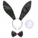 black glitter bunny dress-up set(ears, bow tie,