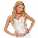grossiste Jouets: blanc corset clouté satin, Taille: (XL) - ...