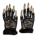 wholesale Ironmongery:  tiger gloves with  gold glitter nails , Size: (One