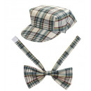 beige tartan hat & bow tie , Hat size: 0 - for a
