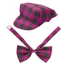 pink tartan hat & bow tie , Hat size: 0 - for ad