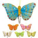 grossiste Jouets: pinces à cheveux papillon 6 couleurs ass. - Pour