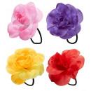 grossiste Jouets: Fleur de cheveux avec un élastique 4 colorassort