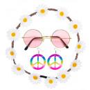 Hippie (bloem hoofdband, oorringen, glazen) - f