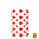 set of 2 red hearts lanterns ø 16 cm - h 28 cm -