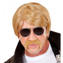 wholesale Sunglasses:  blond undercover  agent wig with moustache & sungl